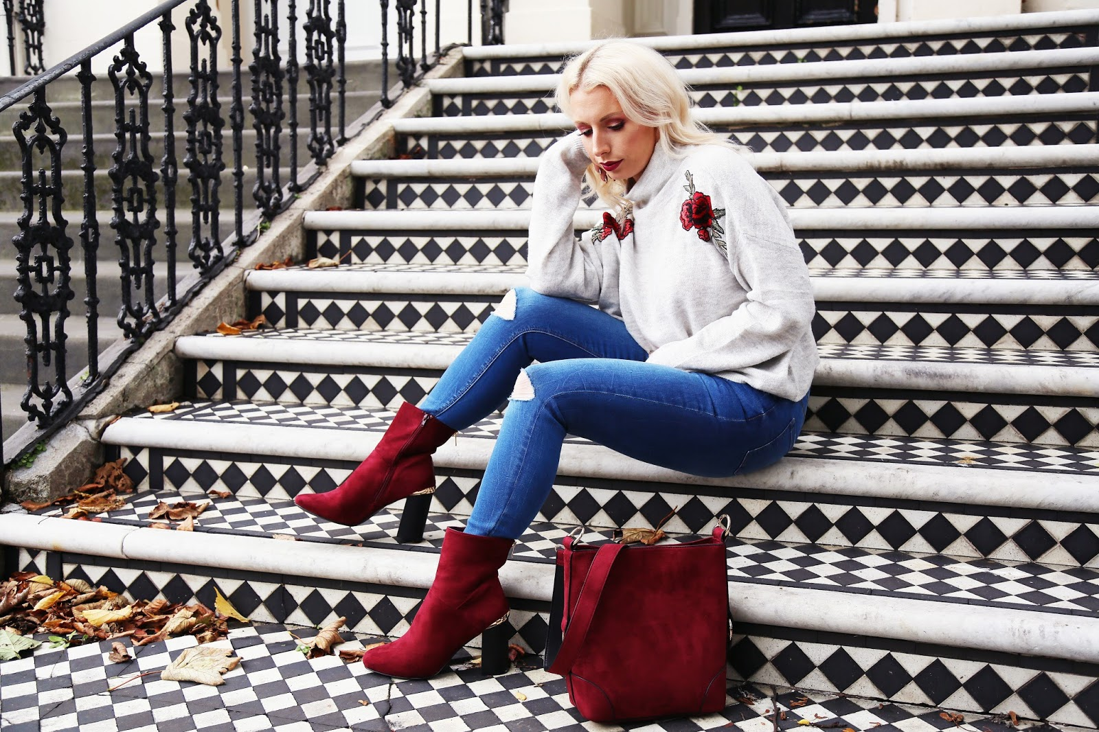 New Look Jumper, New Look Red Bag, New Look Red Boots, Warehouse Biker Jacket