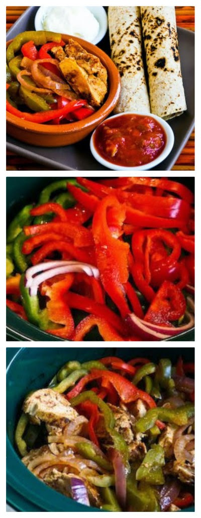 Slow Cooker Chicken Fajitas Recipe from Kalyn's Kitchen found on SlowCookerFromScratch.com