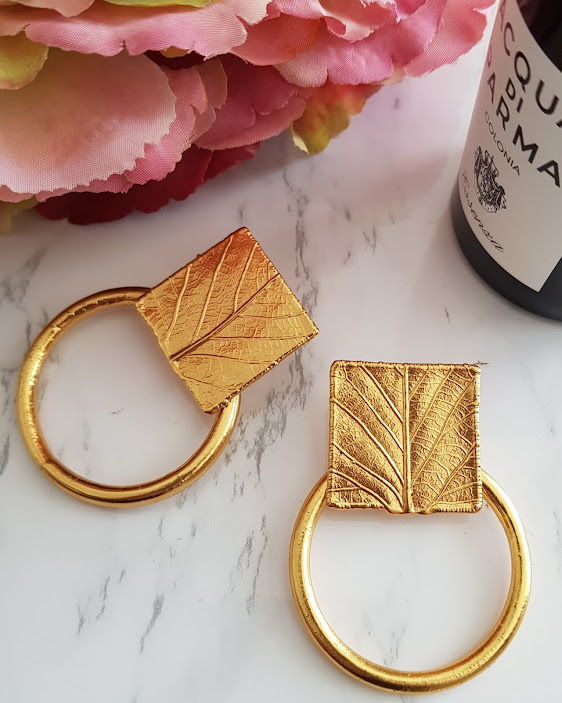 hoops, hoop earrings, leaf design, statement earrings