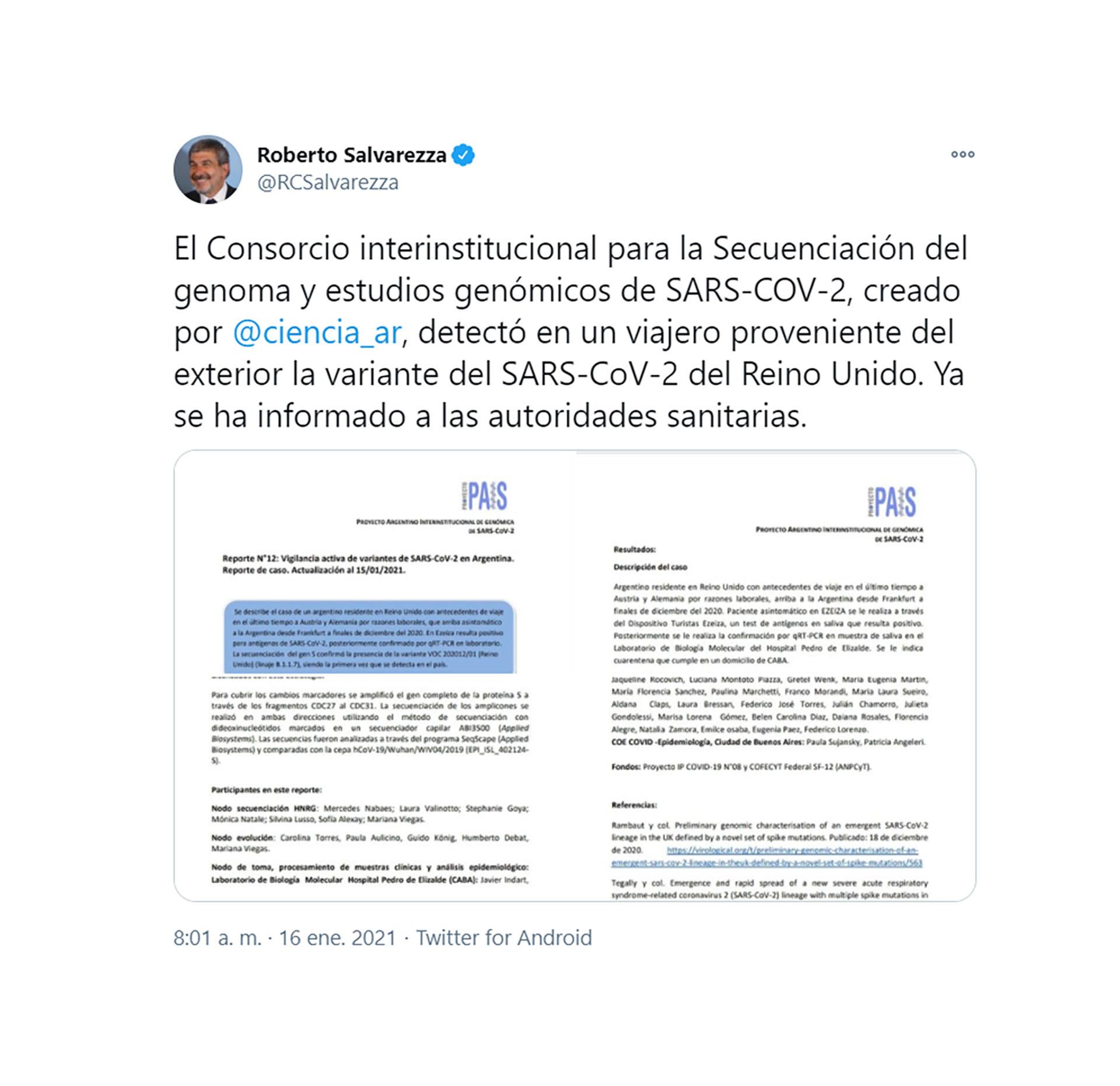 Coronavirus en Argentina: detectaron el primer caso de la cepa británica
