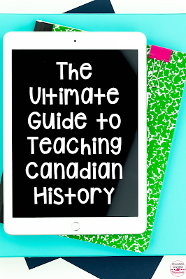 Canadian History Lessons for Kids! Are you an upper elementary teacher who is teaching Canadian History? In this easy to use guide, I break down how to tackle teaching Canadian History. From teaching about Residential Schools, to Viola Desmond, the Constitution and the Famous Five. This blog post is full of ideas to bring engagement and fun to your fifth grade social studies class. Grade 5 Alberta Social Studies activities. Provide students with an accurate timeline of history! #albertateacher