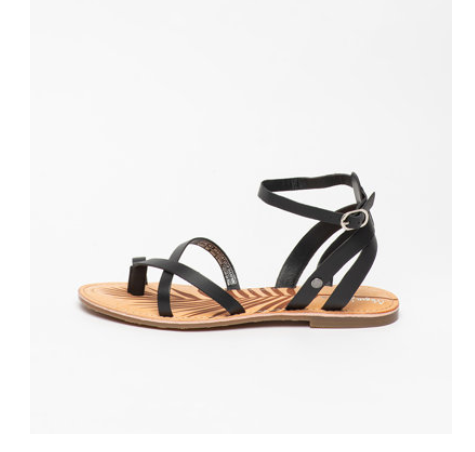 Sandale de piele negre de femei cu talpa joasa Pepe Jeans moderne