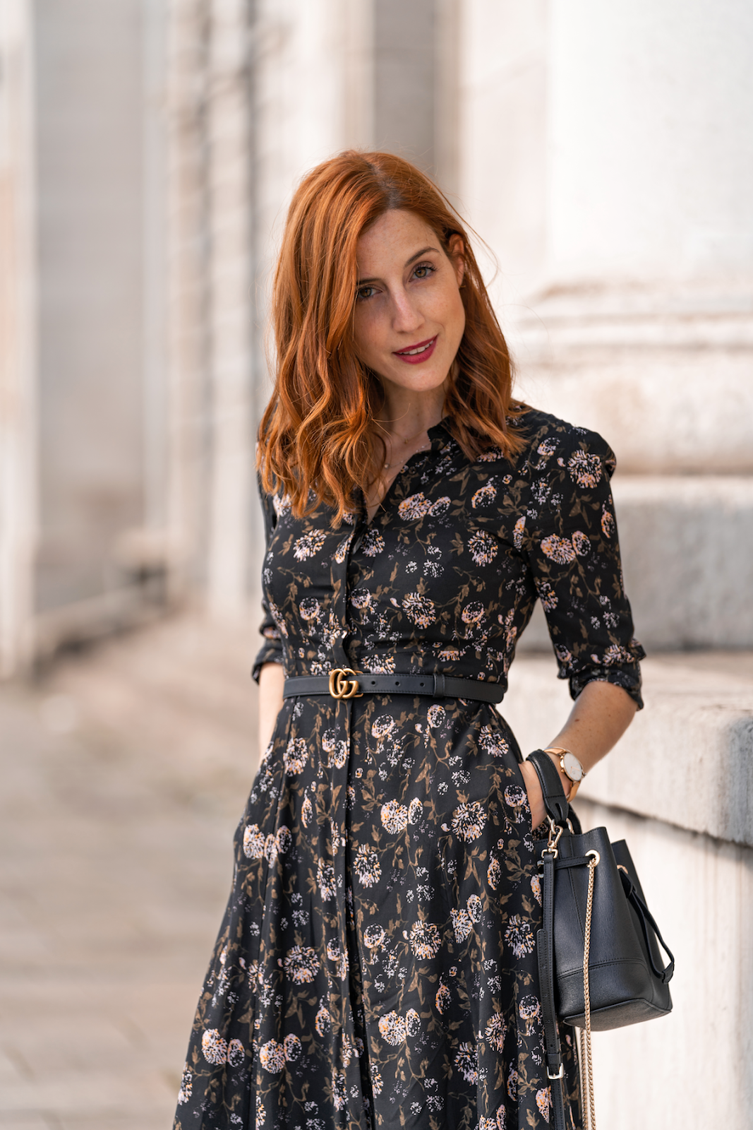fa44d7d80 Easy paired the dress with boots and my bucket bag, marking the silhouette  with my mini Gucci belt and I loved the result! Hope you enjoy this look as  much ...