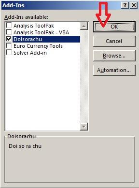 Hoàn thành thêm file vào thư viện Add-Ins như hình