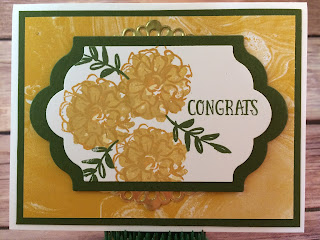 This Delightful Dijon and Mossy Meadow congrats card uses Stampin' Up!'s: What I Love Sale a Bration stamp set, You're So Lovely stamp set, Lots of Labels Framelits, Perfectly Artistic Sale a Bration Designer Paper, and the Metallic Foil Doilies!  *This card was inspired by one I saw on Pinterest!  www.stampwithjennifer.blogspot.com