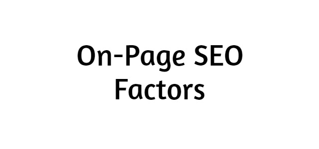 On-Page SEO Factors | Promote web pages on the internet
