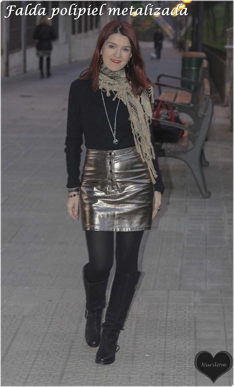 falda polipiel metalizada, un color especial y original que marca la diferencia