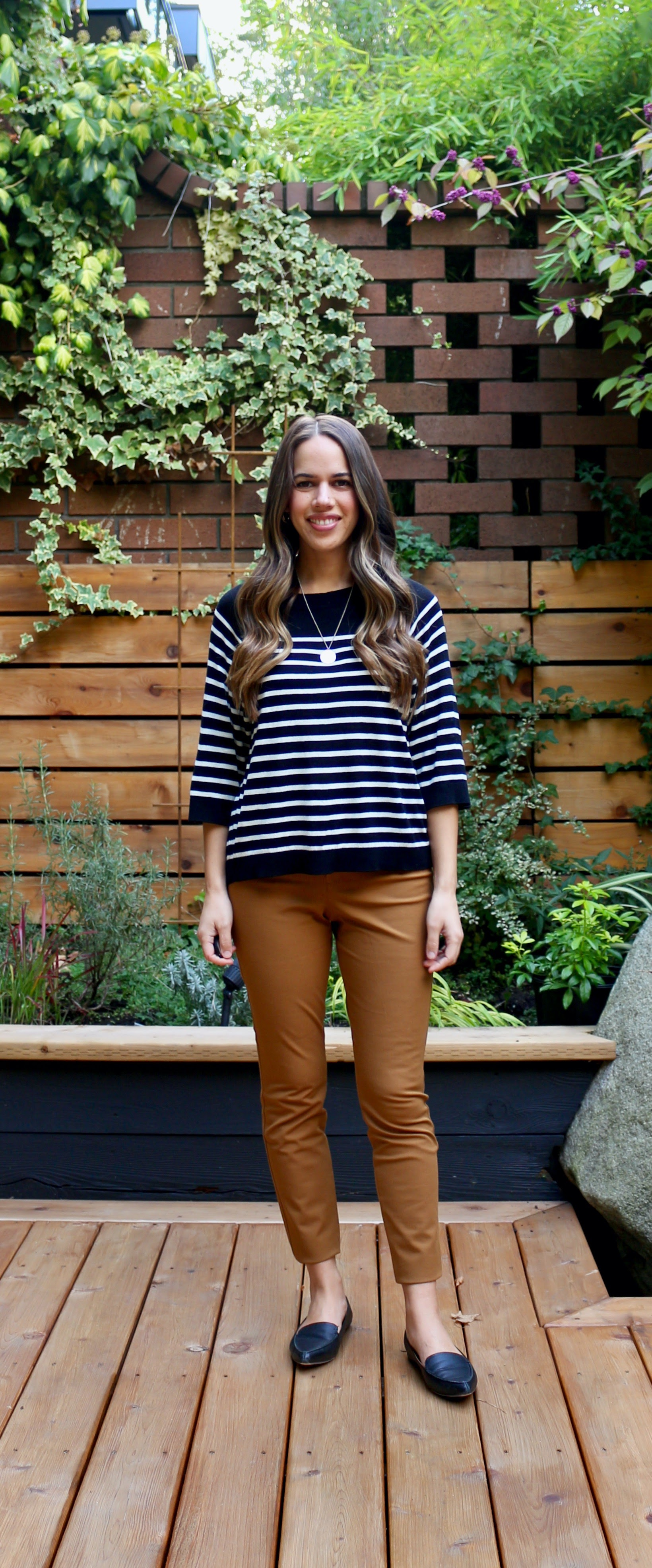 Jules in Flats - Striped Sweater with Cognac Ankle Pants (Business Casual Workwear on a Budget)