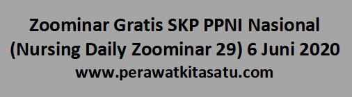 Zoominar Gratis SKP PPNI Nasional (Nursing Daily Zoominar 29) 6 Juni 2020