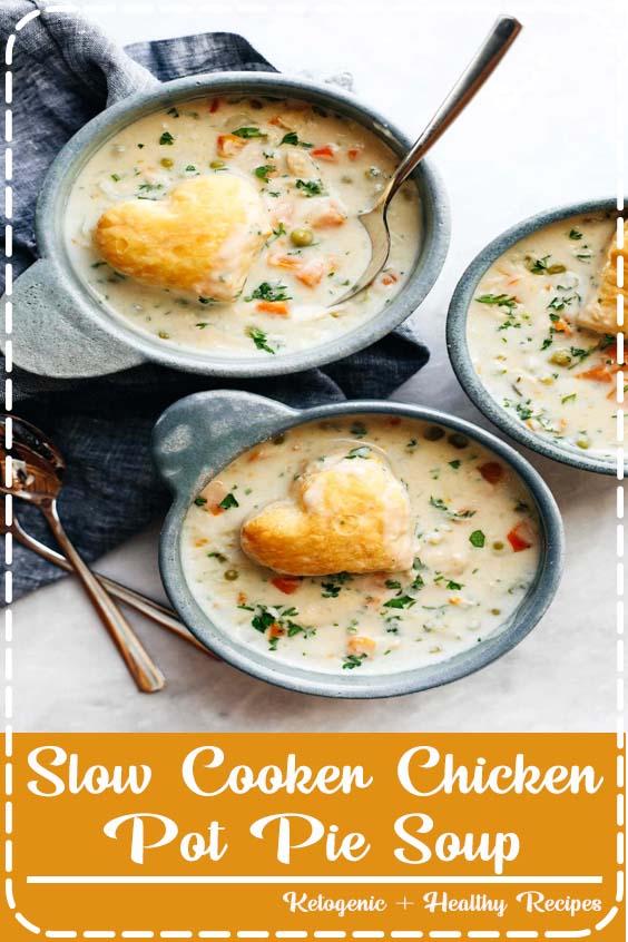low maintenance creamy winter comfort food Slow Cooker Chicken Pot Pie Soup