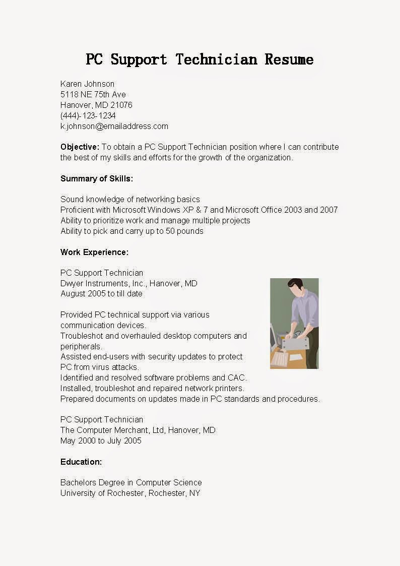 resume samples  pc support technician resume sample