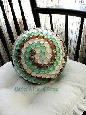 bowling ball, gazing ball, garden art, garden decor, outdoor decor, repurpose, upcycle,