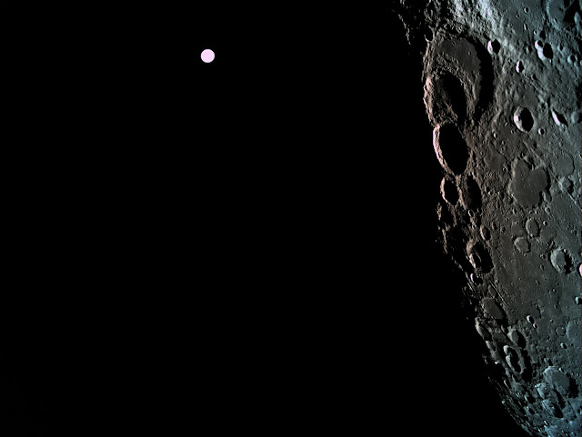A picture of the far side of the moon with Earth in the background