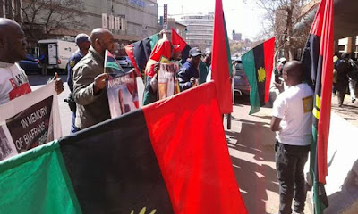 BIAFRA: IPOB Members Protest in South Africa.