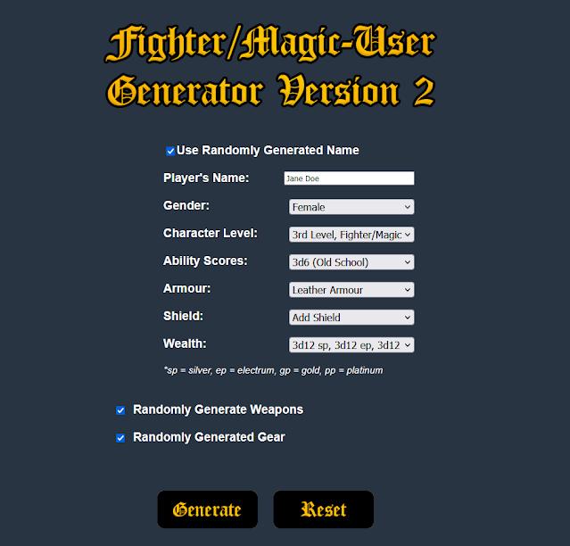 Basic Fantasy RPG FIghter/Magic-User Generator Version 2