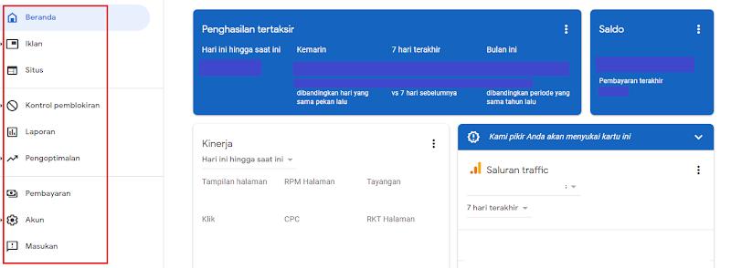 Memahami Menu Dashboard Google Adsense