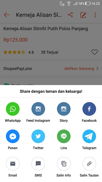 Share produk di Shopee