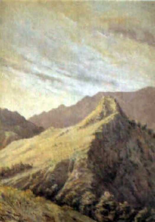 Cordillera del Sueve,  Paisaje en la costa, Juan Martínez Abades, Pintor español, Paisajes de Juan Martínez Abades, Pintor Martínez Abades, Pintores españoles, Pintores Asturianos, Martínez Abades