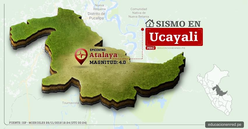 Temblor en Ucayali de magnitud 4.0 (Hoy Miércoles 28 Noviembre 2018) Sismo EPICENTRO Atalaya - IGP - www.igp.gob.pe
