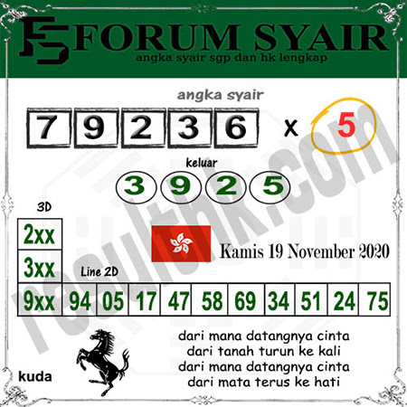 Forum Syair HK Kamis 19 November 2020