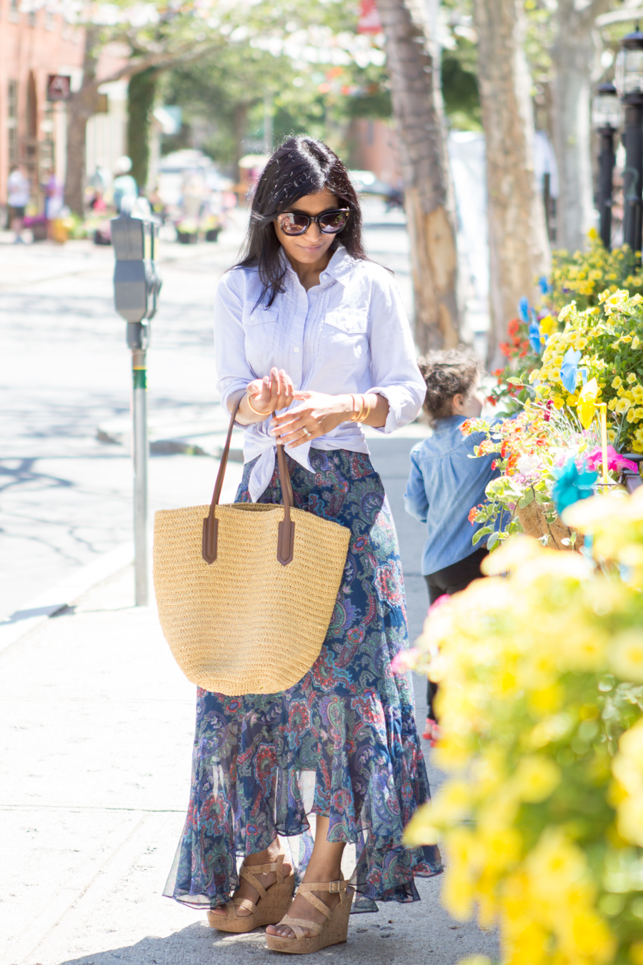anthropologie, paisley, silk skirt, summer maxi, summer style, cork wedge, summer lookbook, farmer's market, straw tote, wedges, banana republic, button-down shirt, petite fashion, floaty. madewell, jcrew
