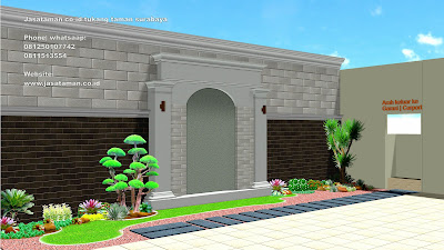 Taman minimalis belakang rumah surabaya