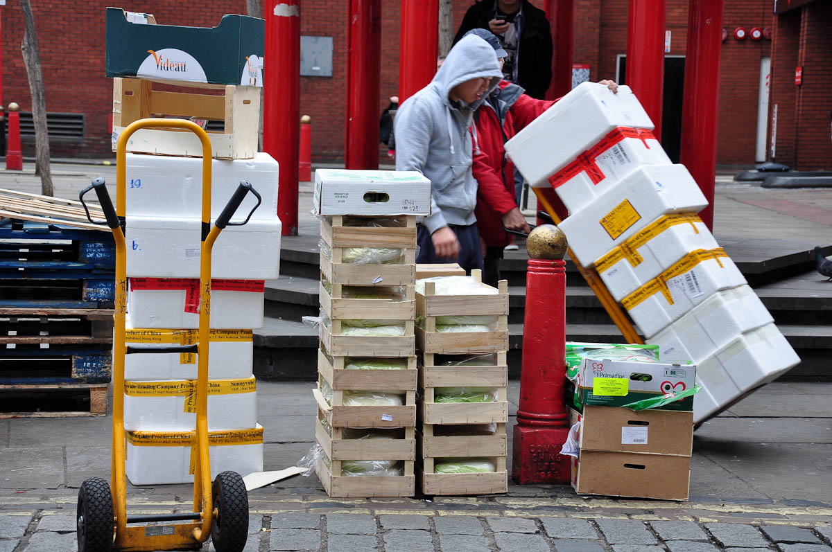 Delivering stock, Chinatown, London, England