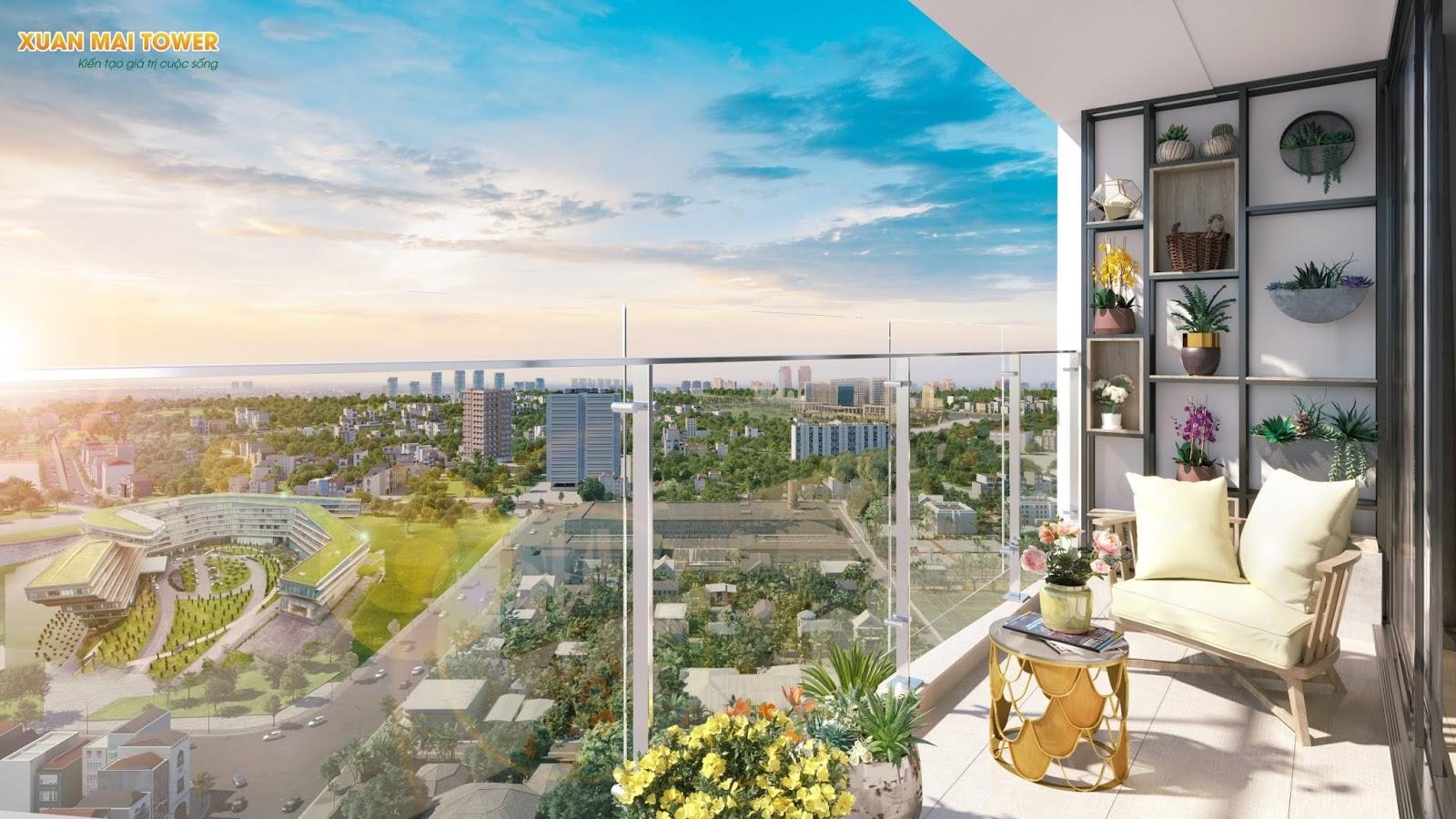 Ban công của dự án chung cư Xuân Mai Tower