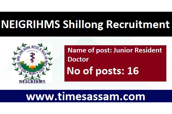 NEIGRIHMS Shillong Job 2020