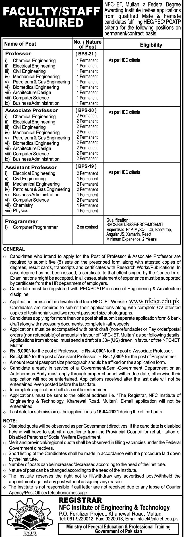 Latest Jobs in NFC Institute of Engineering  And Technology  2021