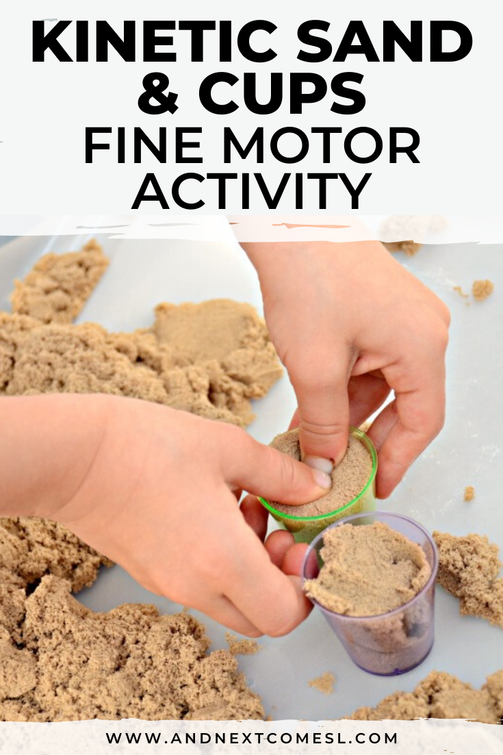 Looking for kinetic sand activities for toddlers and preschoolers? Try this kinetic sand and cups fine motor activity!