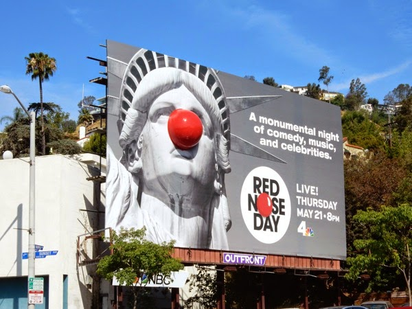 3D Red Nose Day Statue of Liberty billboard