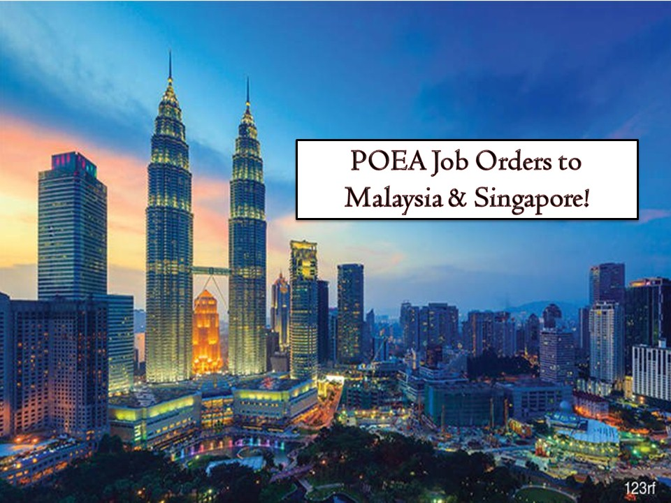 As Philippine's neighbor, Malaysia, and Singapore are often included in Filipinos dream destinations to visit or to work. For those who are planning to work in these two countries, here are the following job orders from the Philippine Overseas Employment Administration (POEA) for this March 2019. Malaysia is hiring for factory workers, domestic workers, IT consultants, cleaners, office clerks, engineers, among others. On the other hand, Singapore is in need of hundreds of civil engineers, caregiver, domestic helpers, nurses, nursing aide, and many others.   Bahayofw.com is NOT a recruitment agency and we are NOT processing nor accepting applications for jobs abroad. All information in this article is taken from the website of POEA — www.poea.gov.ph for general purposes only. Recruitment agencies are being linked to each job orders so that interested applicants may know where to coordinate and apply for their desired position.  Interested applicant may double-check the job orders as well as the licensed of the hiring recruitment agencies in the POEA website to make sure everything is legal.
