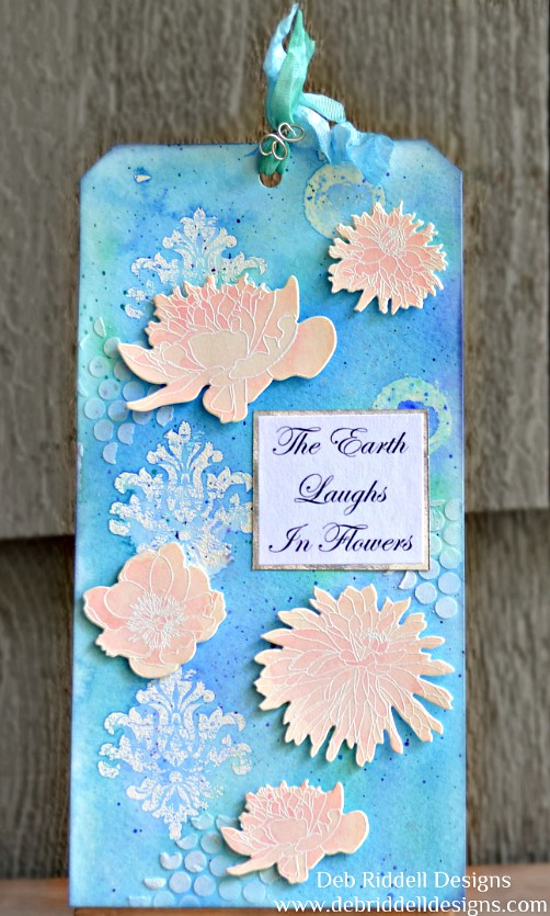 The Earth Laughs In Flowers Watercolour Tag - Deb Riddell Designs