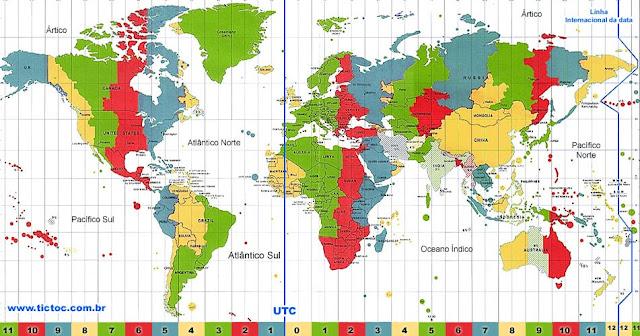 Mapa de fuso horário Itália x Brasil