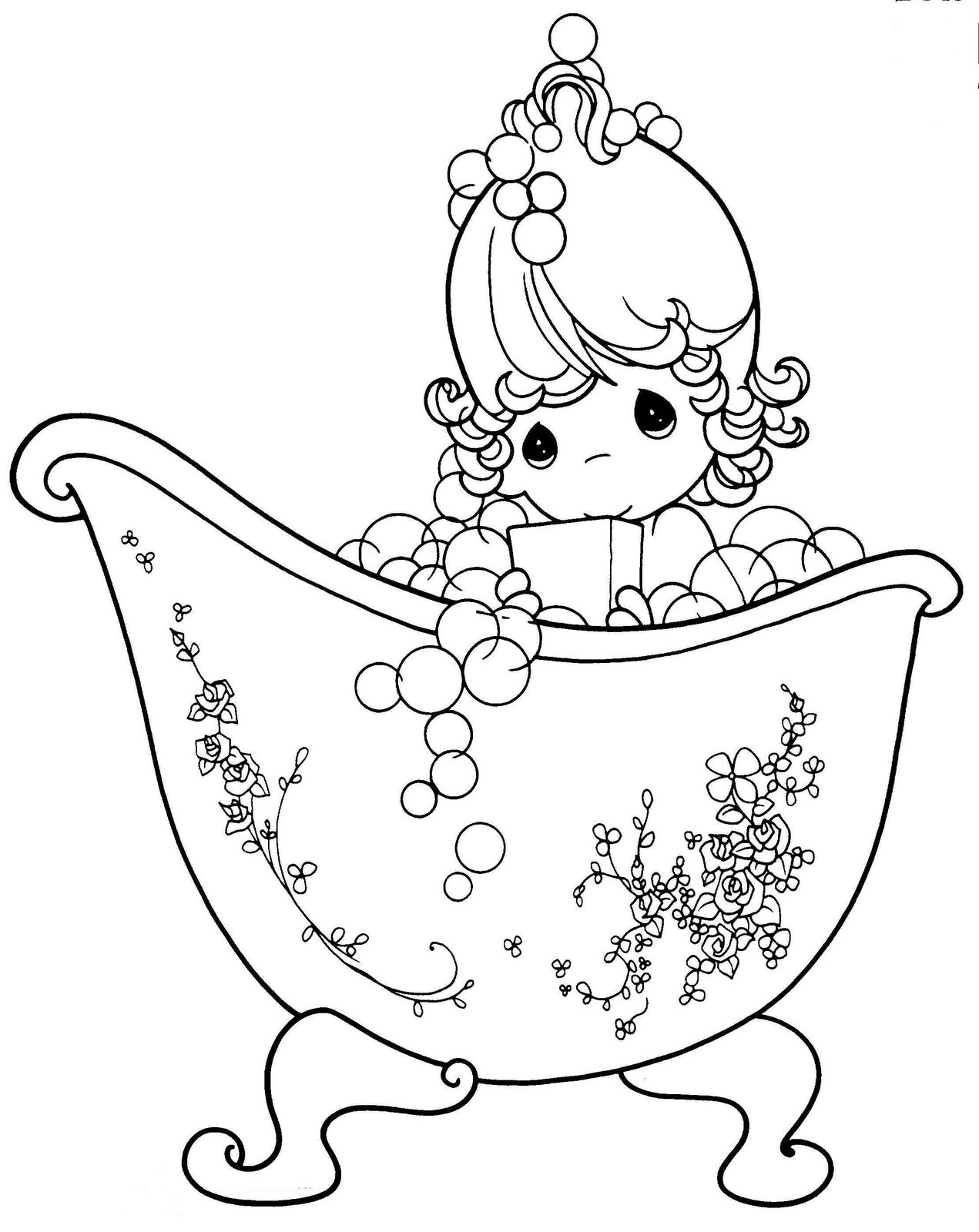 Bathing Girl of the precious moments coloring ~ Child Coloring