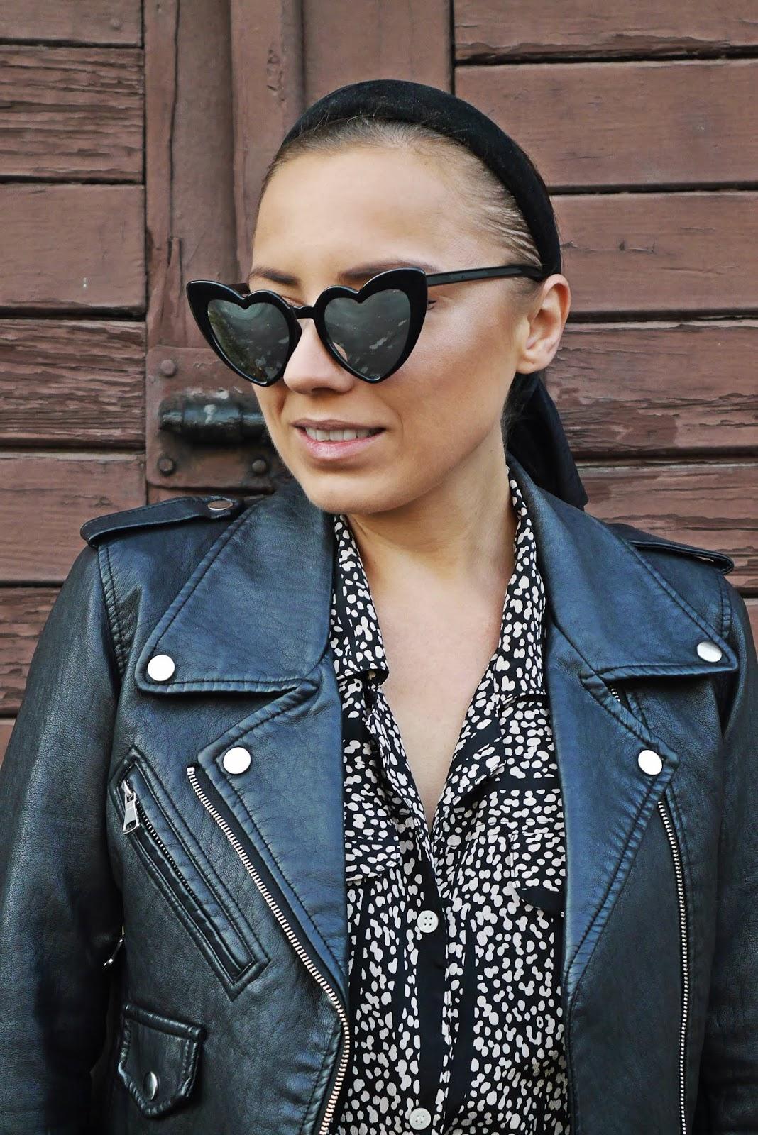 wzorzasta sukienka sh czarna ramoneska kozaki za kolano zamszowe renee karyn blog modowy blogerka modowa puławy look