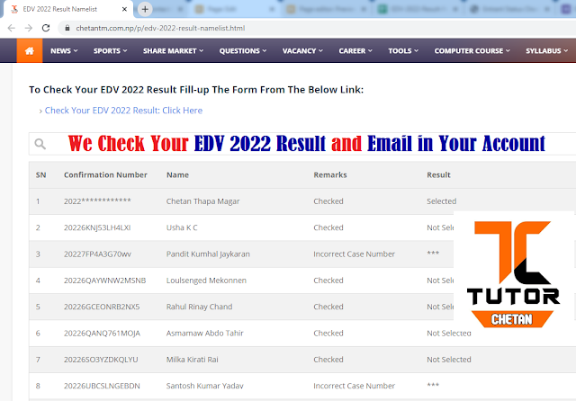 We Check Your EDV 2022 Result Online. (Provide Your Details We Will Explore Your Result)