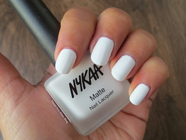 Nykaa While Chocolate Ganache Matte White Nail Polish Swatch