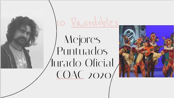 Los 10 pasodobles con Letras de Comparsas mas puntuados en el COAC 2020 por el Jurado Oficial