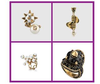 anillos dorados con perlas y tachuelas tendencia actual