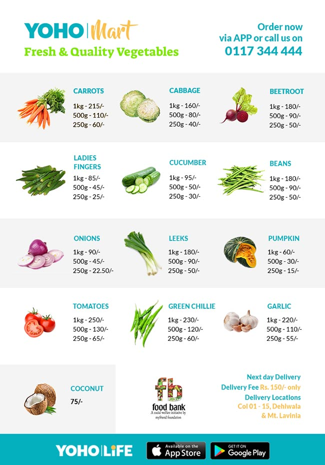 Fresh Veggies now available on Yoho Mart.