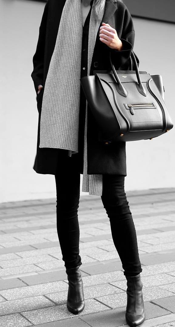 fashionable fall outfit : scarf + bag + coat + top + bag + skinnies + boots
