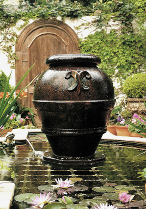 Fountain and pond with water lily's, Feng Shui Your Life by Jayme Barrett, edited by lb for linenandlavender.net