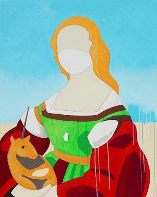 """Andrea Mattiello """"Ritratto di dama con liocorno"""" d'après Raffaello acrilico, pastello e grafite su tela, cm 80x100; 2020"""