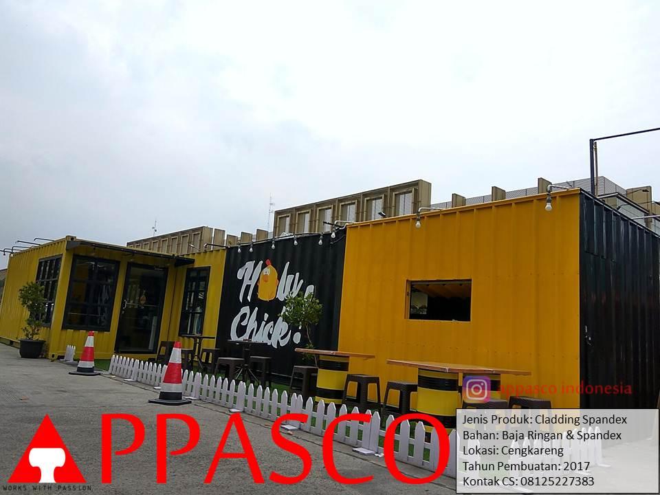 Pembuatan Cladding Spandex Container untuk Cafe Modern di Cengkareng