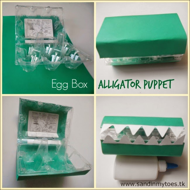 Making an Alligator Puppet with an egg box