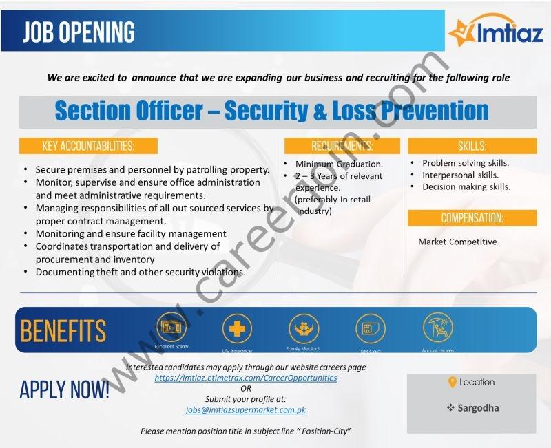 Imtiaz Super Market Jobs Senior Officer Security & Loss Prevention