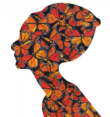 Pop art portrait of Audrey Hepburn with butterflies by Ashley Longshore