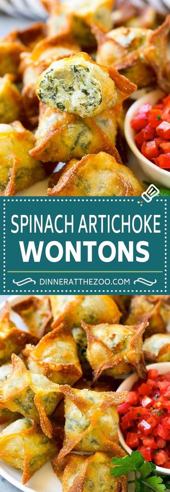 Spinach Artichoke Wontons #appetizer #american #spinach #artichoke #wontons